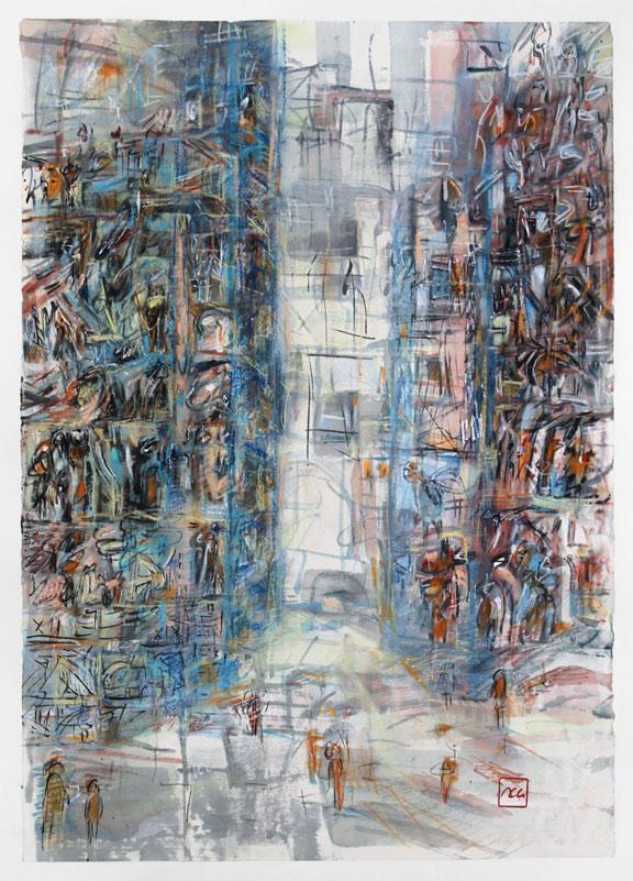 Encre de Chine, acrylique, aquarelle, pastel sur papier de riz – 50 x 70 cm